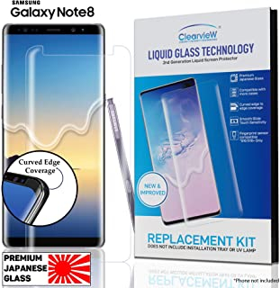 Replacement KIT - Clearview Samsung Galaxy Note 8 Liquid Tempered Glass Screen Protector 9H Ultra Clear HD Japanese Glass, Full Screen Edge Coverage