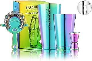 Professional Boston Cocktail Shaker Set, 4-Piece Bar Set, Stainless Steel, 28oz/18oz Weighted Shaker Tins, Hawthorne Strainer, Double Sided Jigger, Recipe Booklet, Bartender Kit (Rainbow Chrome)