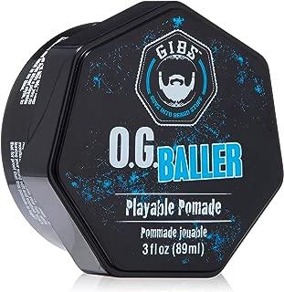 GIBS Grooming OG Baller Pomade- Flex Hold Medium Shine- With Holy Basil Oil, & Panthenol For Men, 3oz.