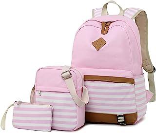 Backpack Girls School,Girls School Bags Set, Bookbags + Shoulder Bag + Pouch 3 in 1 (8810 Pink 3pcs)