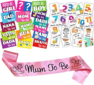 WOBBOX Baby Shower Combo of Photo Booth Party Props, Sash and Milestone Cards - Combo TR