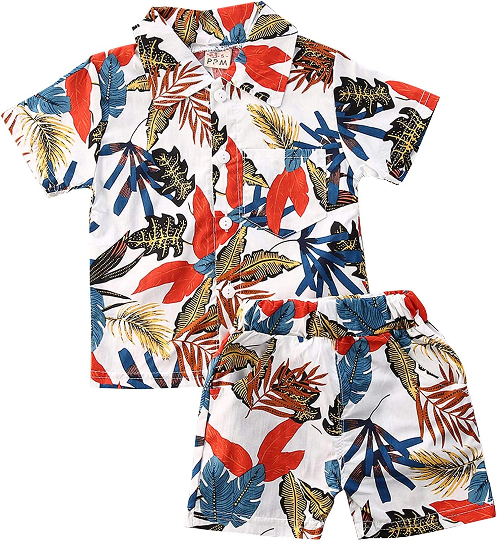 Toddler Newborn Baby Boy Shorts Sets Hawaiian Outfit Button Down Shirt Top Palm Shorts Summer Clothes