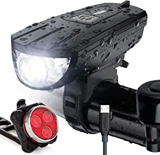 Vont 'Breeze' Bike Light Set, USB Rechargeable Bicycle Light, Instant Install, Fits All Bikes - 3 Modes, Bike Lights Front...