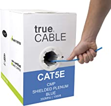 Cat5e Shielded Plenum (CMP), 1000ft, Blue, 24AWG Solid Bare Copper, 350MHz, ETL Listed, Overall Foil Shield (FTP), Bulk Ethernet Cable, trueCABLE