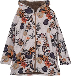 TOOGOO Women Winter Vintage Floral Printed Warm Hooded Fleece Zip Coat Ladies Casual Hoodies Jacket Overcoat Outwear Tops Dark blue S