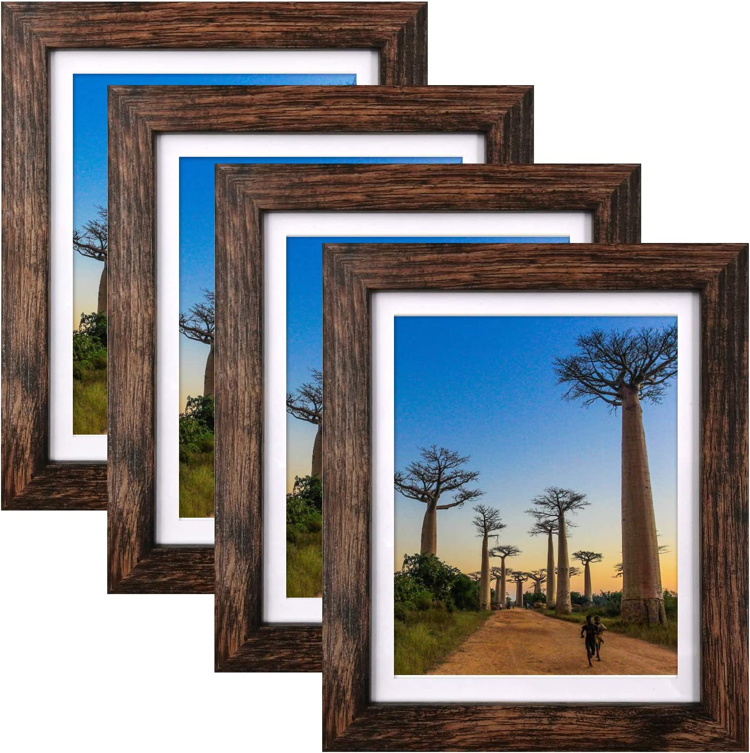 8x10 Picture safety Dallas Mall Frames Rustic Brown with Packs Mat f 4 Photo