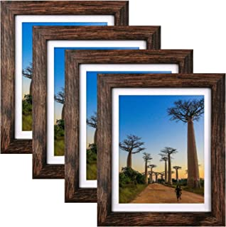 8x10 Picture Frames Rustic Brown with Mat Photo Frames 4 Packs for Tabletop or Wall