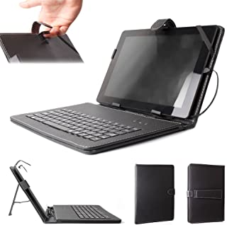 DURAGADGET Microsoft Surface Pro 2 Keyboard Case - Black PU Leather Case/Cover with Built-In QWERTY Keyboard, Stylus & Stand, Custom-Designed for the Microsoft Surface RT / Pro & Surface 2 / Pro 2 (Windows 8 RT, 32GB, 64GB, 128GB, 256GB Tablet), [Importado de Reino Unido]