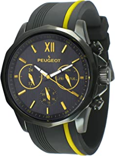 Men Big Face Chronograph Sport Watch with Day and Date Windows & Silicone Strap