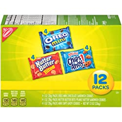 Nabisco Snack Pack Variety Mini Cookies Mix with Oreo Mini, Mini Chips Ahoy! & Nutter Butter Bites,