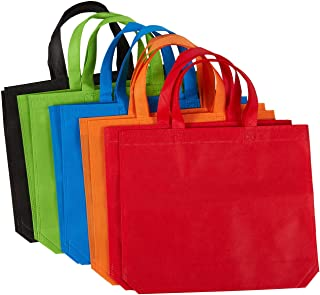 Juvale 10-Pack Gift Tote Bags - Non-Woven Fabric Party Favor Bags, Reusable Grocery Bags, 5 Colors, 14.86 x 12.5 Inches