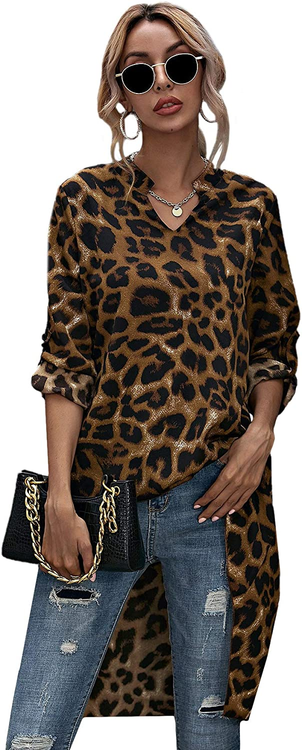 SheIn Women's V Notch High Popular product Low Leopard Printed Tuni discount Blouse Loose