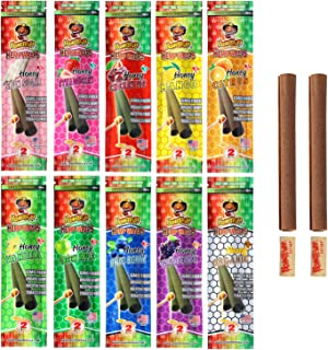 Honeypuff Flavored Hemp Wraps Rolling Papers with Tips, 10 Flavors (20 Packs of 2) Herbaceous Fibers of King Size (110mm)