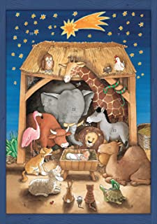 Coppenrath Unique Traditional Advent Christmas Calendar - Premium Made in England - Baby Animals Visiting Baby Jesus Nativity