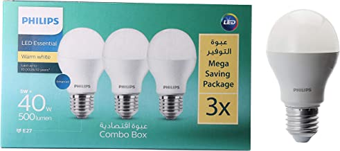 Philips 5W E27 3000K 110-220V LED Bulb 3 Pieces