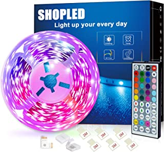 SHOPLED Led Strip Lights 5m/16.4ft Flexible Color Changing Led Lights Strip for Bedroom, 5050 RGB Led Tape Lights with RF ...