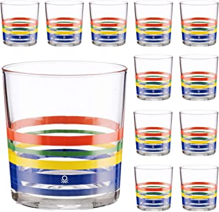 UNITED COLORS OF BENETTON PK2001 Set of 12 Glass Tumblers, Decorated, 33 cl, Glass, Fine Stripes