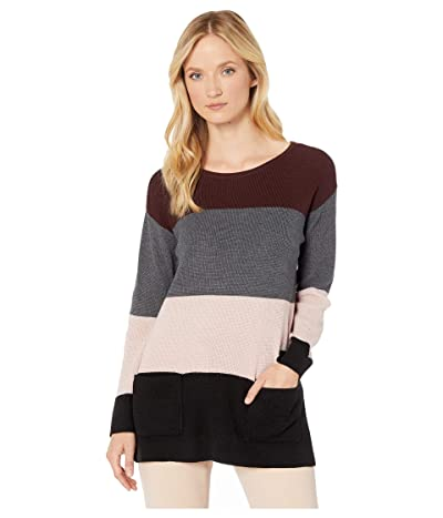 Vince Camuto Two-Pocket Waffle Stitch Color Block Sweater (Port) Women