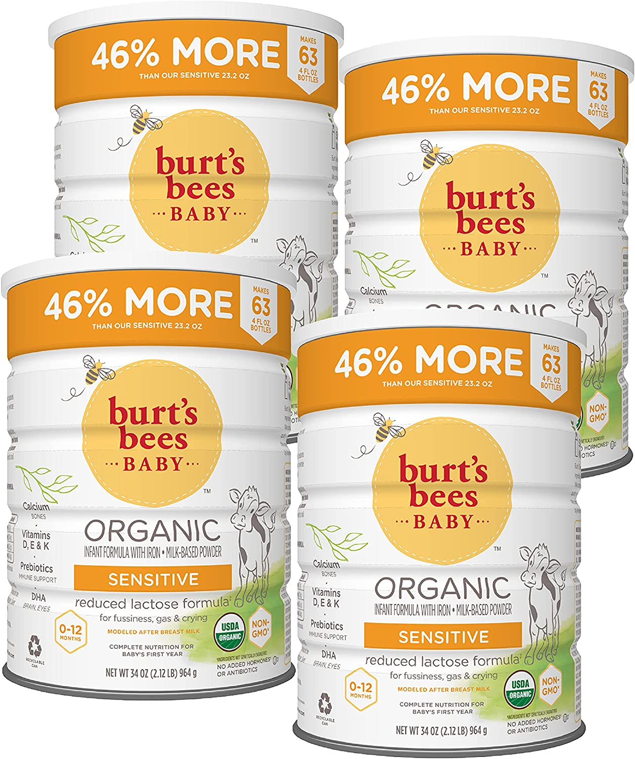 Burt's Bees Baby Organic Sensitive Special price Infant Formula cheap C 4 with Iron