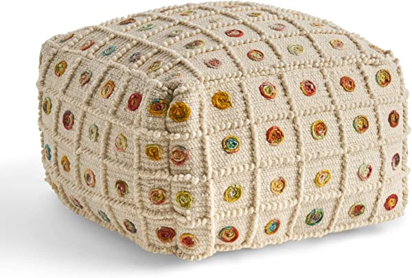 Great Deal Furniture Jocelyn Boho Wool And Cotton Large Ottoman Pouf White And Multicolored