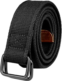 Drizzte Plus Size 39-75'' Long Double Ring Big Mens Canvas Fabric Cloth Belts Black