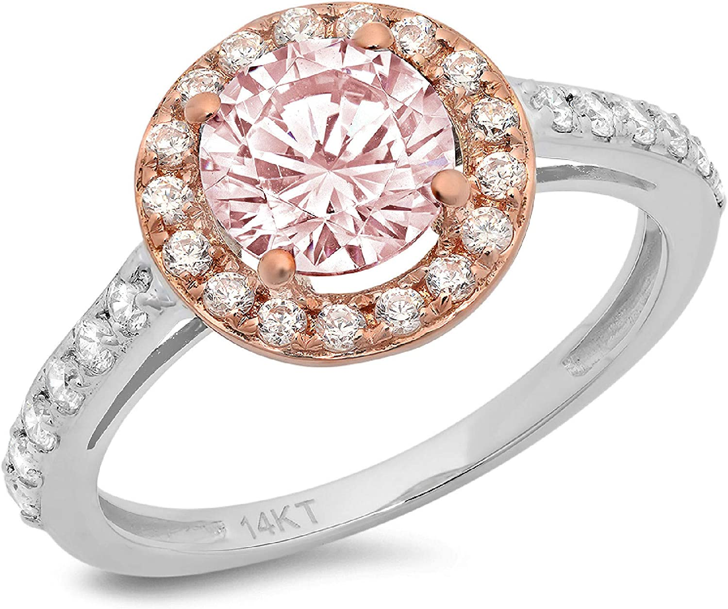 Clara Pucci 2.5 ct Round Cut Solitaire Accent Halo Stunning Genuine Flawless Pink Simulated Diamond Gem Designer Modern Statement Ring Solid 18K White & Rose Gold