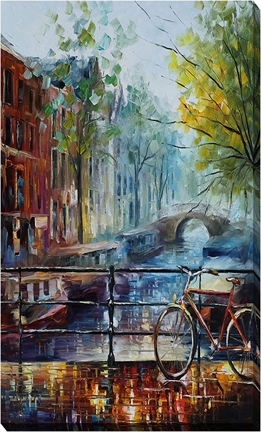 Picture Perfect International Bicycle In Amsterdam by Leonid Afremov Giclee Stretched Canvas Wall Art, 18  x 30  x 1  (704-0691_1830)