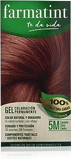 Farmatint Gel 5M Castaño Claro Caoba | Color Natural y Duradero | Componentes Vegetales y Aceites Naturales | sin Amoníaco | sin Parabenos | Dermatológicamente Testado