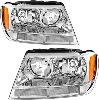 AUTOSAVER88 Compatible with 99 00 01 02 03 04 Jeep Grand Cherokee Headlight Assembly Replacement,OE Headlamp Amber Reflector Chrome Housing
