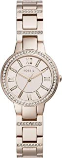 Fossil Women's Virginia Three-Hand Pink-Tone Stainless Steel Watch ES4482
