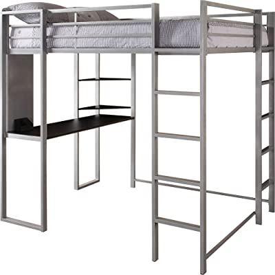 DHP Abode Full-Size Loft Bed Metal Frame with Desk and Ladder, Silver Silver