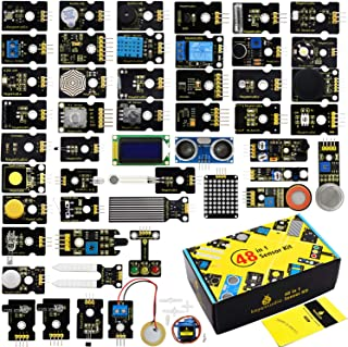 KEYESTUDIO 48 in 1 Sensor Kit for arduino Projects with LCD, 5v Relay, IR Receiver, Line Tracking, Traffic Light, 9G Servo...