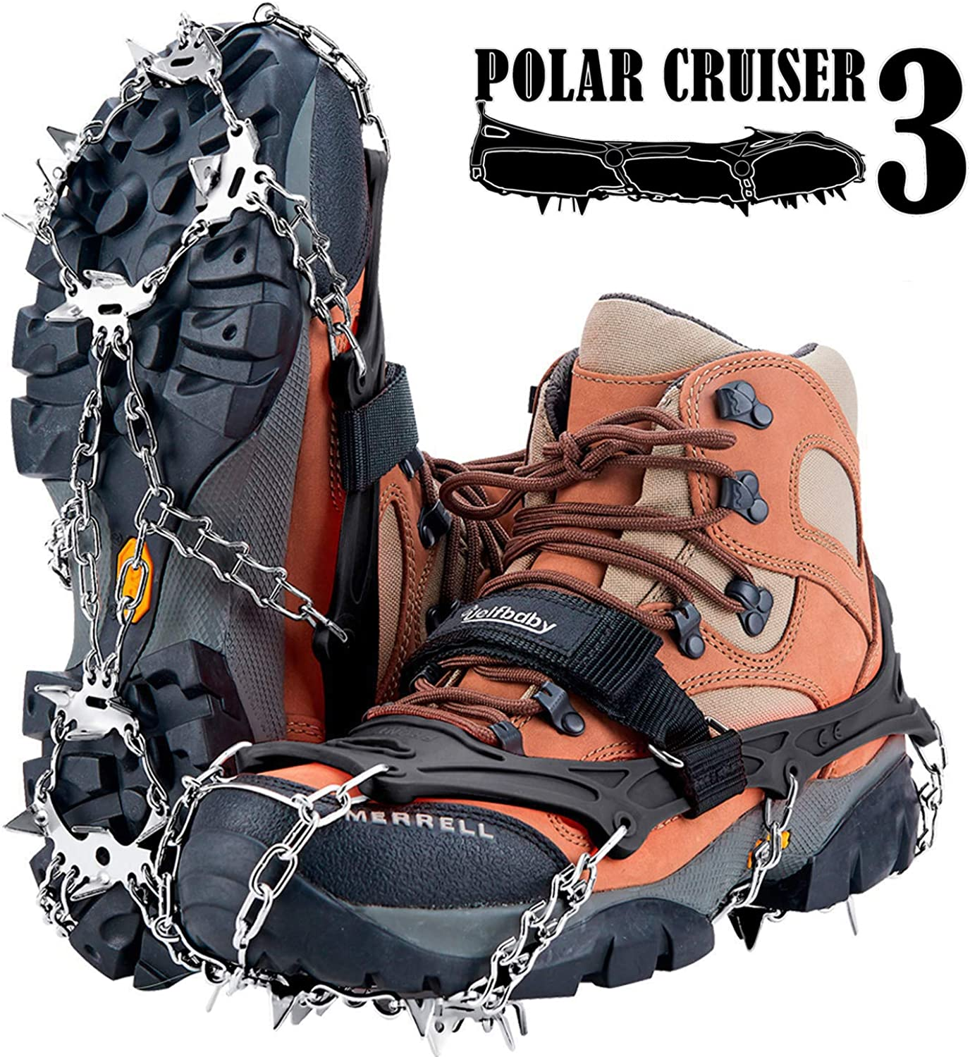Uelfbaby Crampons Upgraded Many popular brands National uniform free shipping 19 Spikes Snow Ice Grips Cle Traction
