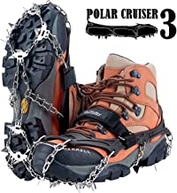 Uelfbaby 19 Spikes Crampons Ice Snow Grips Traction Cleats System Safe Protect for Walking, Jogging, or Hiking on Snow and Ice (Fit S/M/L/XL/XXL Shoes/Boots)