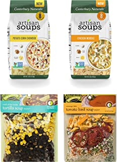 Soup Lovers Gift Pack #1: (1) Canterbury Naturals Down Home Chicken Noodle, (1) Canterbury Naturals Roasted Garlic Potato Corn Chowder, (1) Frontier Soups Tomato Basil, (1) Frontier Soups Tortilla