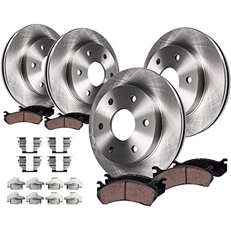 CERAMIC PADS 57294PK POWER DRILLED SLOTTED PLATED BRAKE ROTORS FRONT + REAR