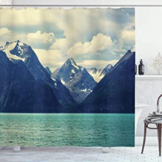 Ambesonne Mountain Shower Curtain, Northern Norway Atlantic Coastline Fishing Harbor Snowy Nature, Cloth Fabric Bathroom Decor Set with Hooks, 70