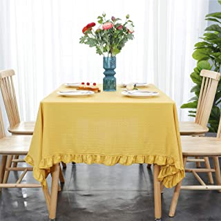 Ginger Colored 100% Washed Cotton Jacquard Wave Edge Tablecloth Tea Coffee Side Corner Table Cloth 39 x 55 Inch
