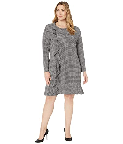 MICHAEL Michael Kors Plus Size Check Ruffle Long Sleeve Dress (White) Women