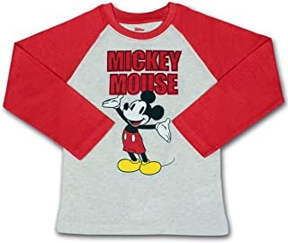 Disney Boy's Mickey Mouse Pullover Long Sleeve Raglan Tee Shirt