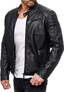 Red Bridge Men's Faux Leather Jacket Cool Biker Casual Ribbed Basic Coats