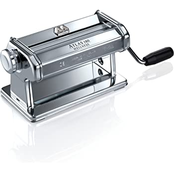Marcato 8342 Atlas Pasta Dough Roller, Made in Italy, Includes 180-Millimeter Pasta Roller with Hand Crank and Instructions, Silver