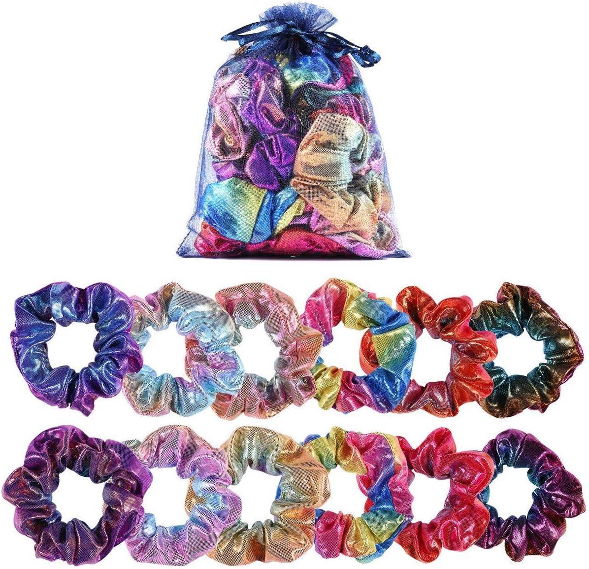 boogift 12 Pcs Pelo Elástico Banda scrunchies Brillantes Gomas de Pelo scrunchies Metálicos para el Cabello Scrunchy Gradient Mermaid Colors Hair Ties Cuerdas para Mujeres,12 Colores