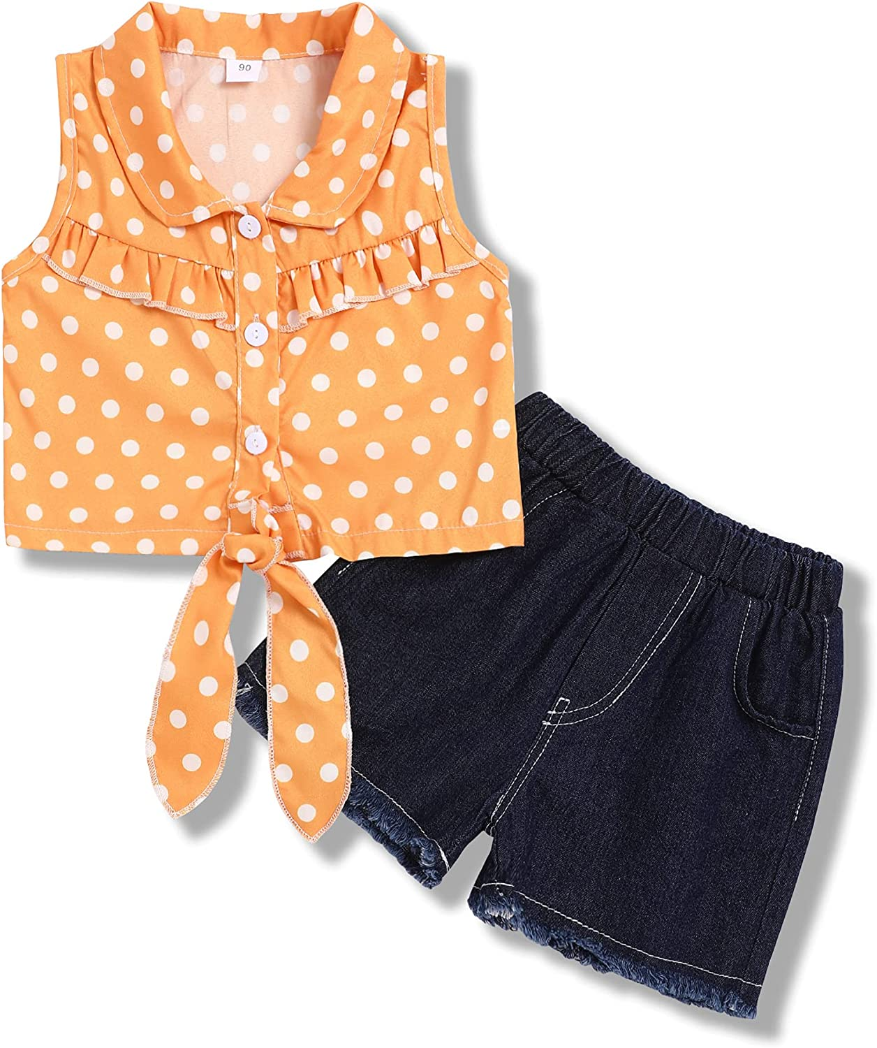 Toddler Baby Girl Clothes Sleeveless Spot Top+Jeans Shorts Summer Outfits Set
