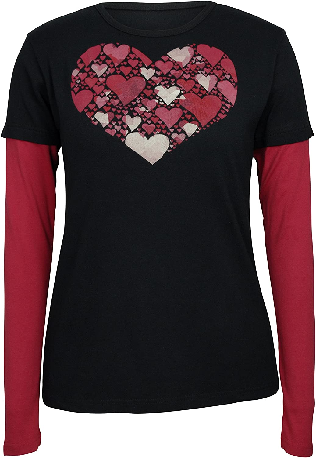 Green 3 Women's Faceted heart doubluep Organic made in USA tee