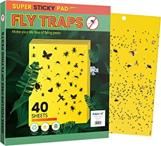FiGoal 40 Pack Fruit Fly Trap Double-Sided Sticky Traps for Kitchen & Plants Fly Killer for Indoor and Outdoor Use Gnat Tr...