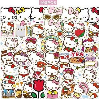 100 Stück Hello Kitty Aufkleber Japanische Sanrio Kawaii Aufkleber Ästhetische Vinyl Aufkleber für Wasserflaschen Skateboard Laptop wasserdichte Aufkleber Packs
