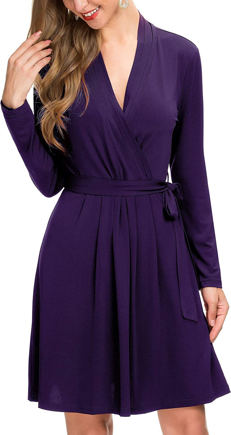 Le Vonfort Women's Long Sleeve Credver V Neck Casual Swing A Line Belted Faux Wrap Dress Purple Small