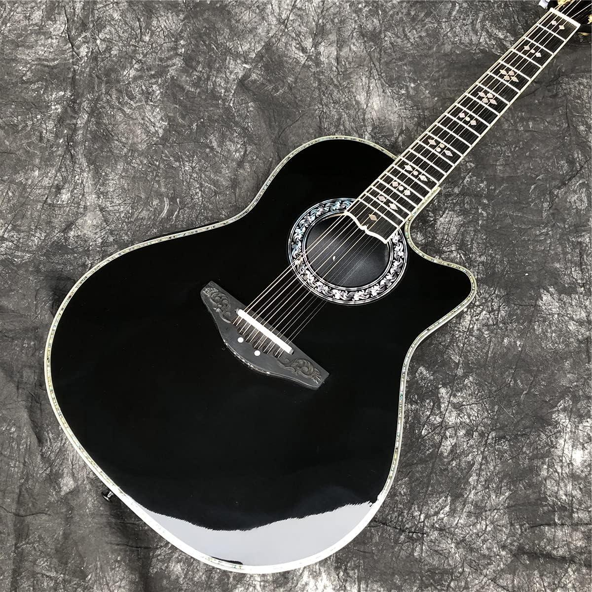 Guitarra Black Solid Spruce 12 String Acústico Guitarra Fibra de carbono Tortuga Concha Balanced GuitarFolk Pop Instrumentos Guitarmusicos Instrumentos Acústicos Guitarra Kits guitarra de madera AMINÍ