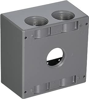 TayMac DB5100S 4-1/2-Inch X 4-1/2-Inch Gang 2-Inch Deep Weatherproof Box, 1-Inch Outlets, Gray